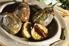 Baghara baingan - un piatto indiano popolare Fotografia Stock