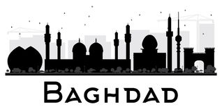 Baghdad City skyline black and white silhouette. Stock Image