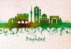 Baghdad Irak horisont stock illustrationer