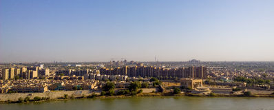 Baghdad. Iraq – July 20 2014 : Aerial photographs of the city of  ,And shows where residential complexes and the Tigris River and bridges. The city of Royalty Free Stock Image