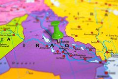 Baghdad Iraq map. Baghdad in Iraq pinned on colorful political map of Europe. Geopolitical school atlas. Tilt shift effect Royalty Free Stock Photos