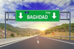 Baghdad road sign on highway Royalty Free Stock Photography