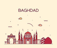 Baghdad skyline vector illustration linear style Royalty Free Stock Images
