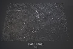 Baghdad streets and buildings map Royalty Free Stock Images