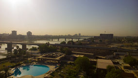 Baghdad at Sunrise. Baghdad, Iraq – August 21 2014 : Aerial photographs of the city of Baghdad during Sunrise ,And shows where residential complexes and the Stock Image