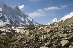Baghirathi Parbat and Gangotri glacier. View at Bhagirathi Parbat, India and Gomukh glacier. The place is in Uttranchal state of India. Bhagirathi Parbat is a Royalty Free Stock Photos