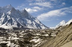 Baghirathi Parbat and Gangotri glacier. View at Bhagirathi Parbat, India and Gomukh glacier. The place is in Uttranchal state of India. Bhagirathi Parbat is a Royalty Free Stock Image