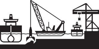 Bagieru statek pogłębia port ilustracji