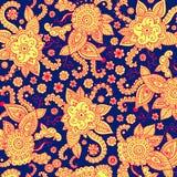 Bagkround tribal psicodélico para la impresión, diseño, materia textil, tela del zueco del mehndi de la alheña Ilustración del ve stock de ilustración