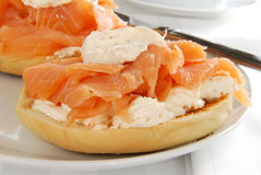 Bagle with lox and cream cheese Stock Photo