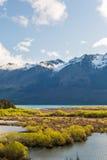 Bagna bagno w glacjalnej Rees strzałki rzeki dolinie Zdjęcia Royalty Free