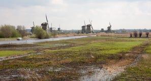bagna holenderscy tradycyjni wiatraczki Zdjęcie Stock