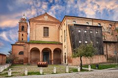 Bagnacavallo, Ravenna, Emilia-Romagna, Italy: the ancient church. Bagnacavallo, Ravenna, Emilia-Romagna, Italy: the medieval catholic church and convent of Saint royalty free stock images