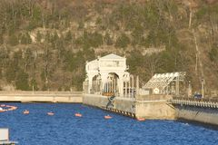 Bagnal dam. Blue waters of Lake of the Ozarks at Bagnal Dam in Central Missouri Stock Photo