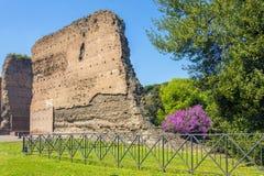 Bagni di Caracalla, rovine antiche dei thermae pubblici romani fotografie stock libere da diritti