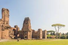 Bagni di Caracalla, rovine antiche dei thermae pubblici romani immagini stock libere da diritti