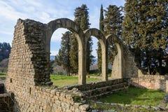 Bagni romani nella città di Fiesole tuscany L'Italia immagine stock