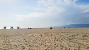 Bagnino Huts sulla spiaggia di Venezia, California, U.S.A. Immagini Stock Libere da Diritti