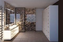 Bagno beige piastrellato, doppio lavandino, vista laterale Fotografia Stock