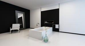 Bagno in bianco e nero moderno minimalista illustrazione di stock