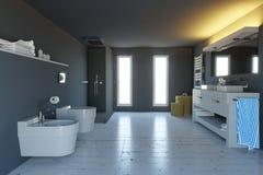 Bagno, completi moderni con i montaggi sanitari, la doccia e gli accessori fornenti Fotografie Stock Libere da Diritti