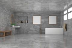 Bagno con derisione sulla foto e sulla decorazione della struttura nella stanza concreta nella rappresentazione 3D Fotografia Stock