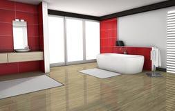 Bagno con le mattonelle rosse del granito Fotografia Stock