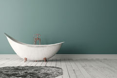 Bagno con tappeto, il pavimento di legno e la parete ruvida Immagine Stock Libera da Diritti
