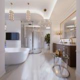 Bagno contemporaneo lussuoso con un bagno e una TV indipendenti sulla parete, sulla doccia, sulla vanità con lo specchio e sulla  illustrazione di stock