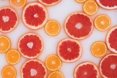 Bagno del latte con le fette delle arance e dei pompelmi Vista superiore Disposizione piana immagini stock