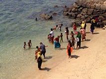 Bagno del tempo sulla spiaggia Immagini Stock Libere da Diritti