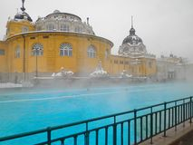 Bagno della stazione termale di Szechenyi, Budapest fotografia stock
