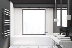 Bagno Legno E Grigio : Bagno bianco e grigio minimalista con la vasca da bagno e panoramico