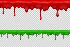 Bagno di sangue realistico della sgocciolatura di Halloween, progettazione grafica ripetibile senza cuciture di vettore, fondo tr Fotografia Stock