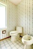 Bagno floreale con la toilette ed il bidet fotografia stock