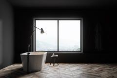 Bagno grigio con la vasca e la finestra illustrazione vettoriale
