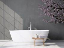 Bagno grigio moderno con la vasca rappresentazione 3d Fotografia Stock Libera da Diritti
