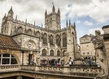 Bagno, l'Inghilterra - la cattedrale e Roman Baths immagine stock libera da diritti