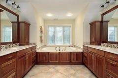 Bagno matrice con cabinetry di legno fotografie stock