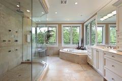 Bagno matrice con il grande acquazzone di vetro fotografia stock