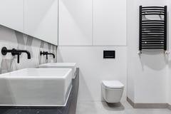 Bagno moderno con due bacini immagine stock