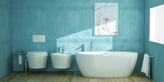 Bagno moderno con l'insieme ceramico enorme royalty illustrazione gratis