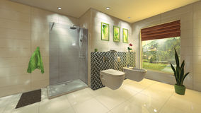 Bagno moderno con la parete del mosaico fotografia stock