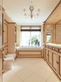 Bagno nello stile classico con la grande finestra ed il bagno di legno Fotografia Stock Libera da Diritti