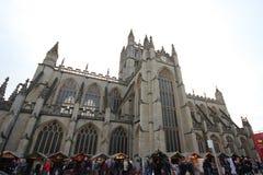 Bagno, Regno Unito - 6 dicembre 2013: Vista della via con l'ab fotografia stock libera da diritti