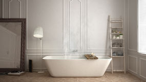 Bagno scandinavo, progettazione minimalistic bianca, reso della stazione termale dell'hotel immagine stock libera da diritti