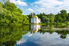 Bagno turco nel parco di Catherine, Tsarskoe Selo Pushkin, San Pietroburgo, Russia fotografia stock