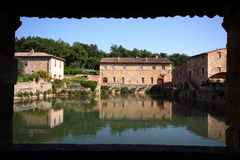 Bagno vignoni. Thermal baths inside a little italian town Stock Images