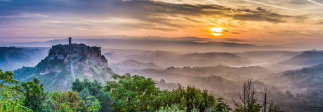 Bagnoregio at dusk in Italy Stock Photography
