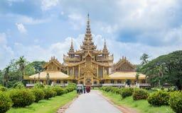 Bago, Мьянма - 22-ое июня 2558: Дворец Pala Kambawzathardi золотой Стоковая Фотография